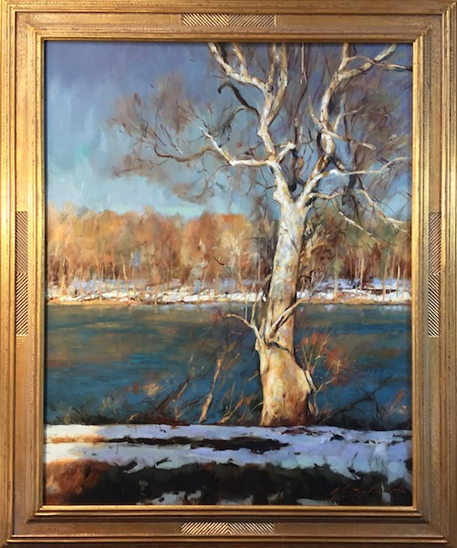 THAW ON THE TOWPATH by Glenn Harrington - 30 x 24 in., o/l in Madary frame • $10,800