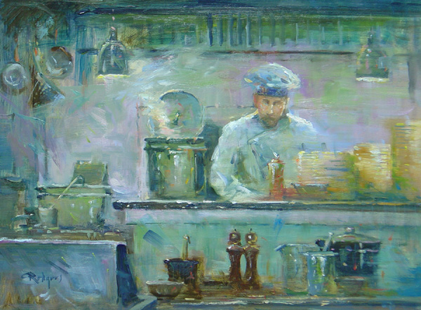 THE ART OF COOKING by Jim Rodgers - 12 x 16 in., o/b • $2,500