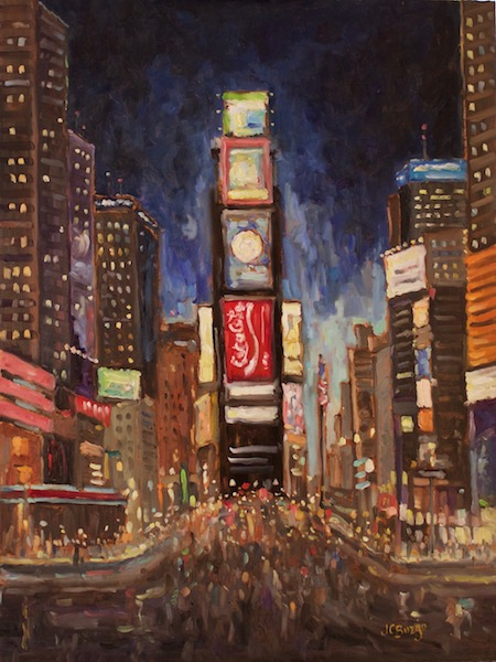 TIMES SQUARE AT NIGHT II by Jean Childs Buzgo - 24 x 18 ob • $2,500