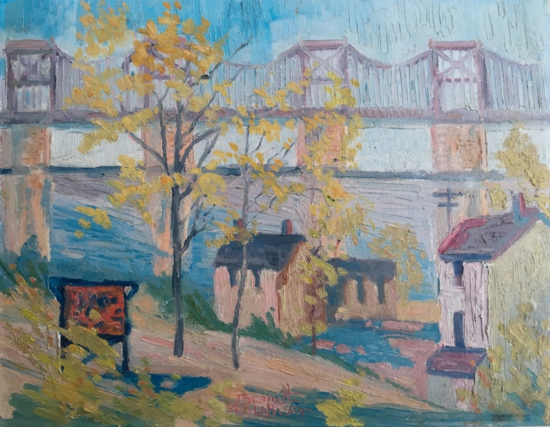 UNDER THE BRIDGE by Joseph Barrett - 14 x 18 in., o/cb • SOLD
