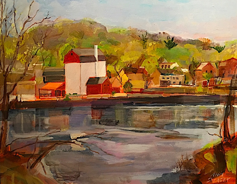 VIEW FROM SWAN CREEK (PLAYHOUSE)  by Anita Shrager - 16 x 20 in., o/c • $3,200