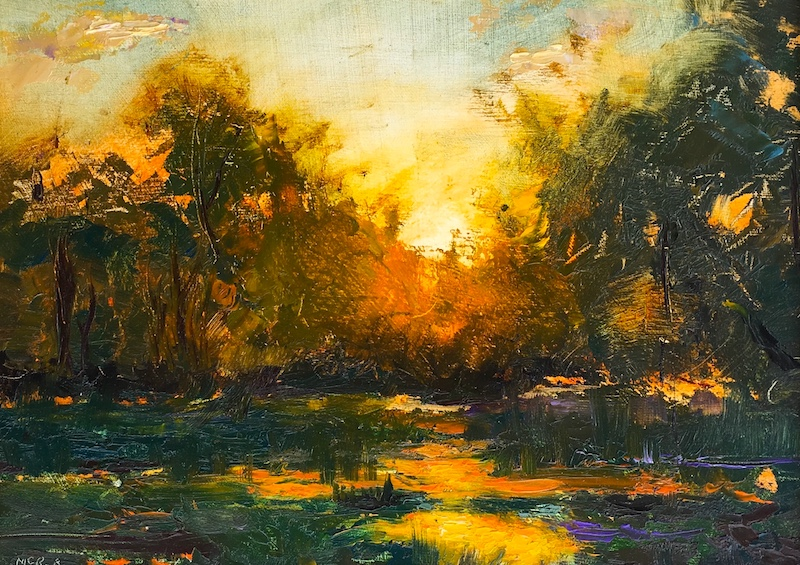 WETLAND SUNSET by Desmond McRory - 9 x 12 in., o/b • SOLD