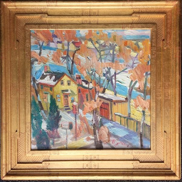 WINTER DAY by Joseph Barrett - in signed artist frame, 16 x 16 in., o/c • SOLD