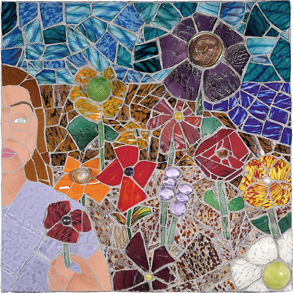 WOMAN IN THE GARDEN by Jonathan Mandell - 24 x 24 x 4 in., wall mosaic • $3,500