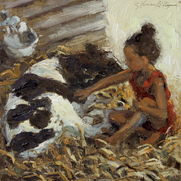 YOUNG GIRL WITH CALF by Jennifer Hansen Rolli - 8 x 8 in., o/c in Madary frame • SOLD