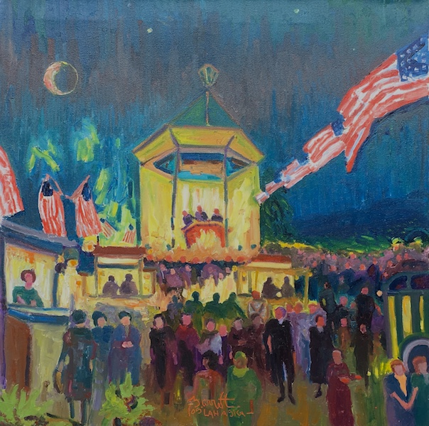 FESTIVAL:  PEDDLERS' VILLAGE by Joseph Barrett - 24 in. sq., o/c • $6,800