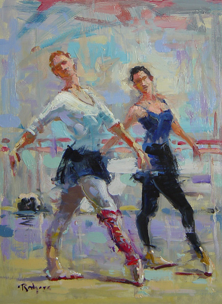 FIGURES IN MOTION by Jim Rodgers - 16 x 12 in., o/b • $2,500