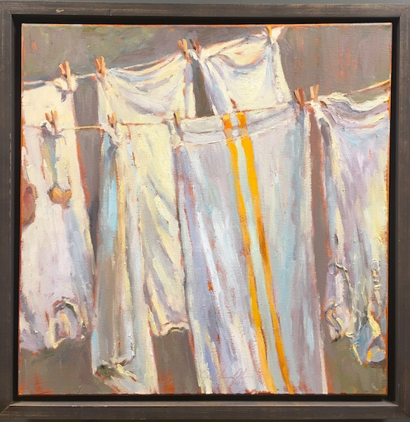 MRS. CAROTELLI'S LAUNDRY by Jennifer Hansen Rolli - 18 in. sq., o/c • $3,200