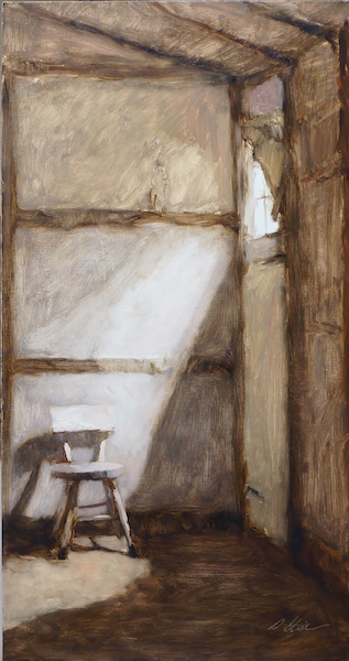 SUNLIT CORNER AND SMALL CHAIR by David Stier - 33 x 17.5 in., o/b • $4,000