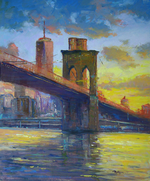 Just arrived: SUNSET OVER THE BROOKLYN BRIDGE by Jim Rodgers - 24 x 20 in., o/b • $4,700