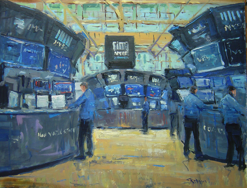 MONDAY MORNING MARKET by Jim Rodgers - 16 x 20 in., o/b • $3,700