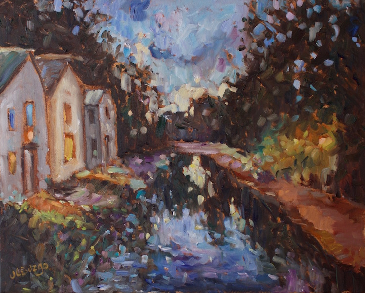 COMING SOON: NIGHTTIME ON THE CANAL (NEW HOPE) by Jean Childs Buzgo - 16 x 20 in., o/c • $2,000