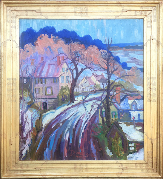 ROAD TO NEW HOPE, FIRST SNOW by Joseph Barrett - 30 x 26, o/c • $8,800