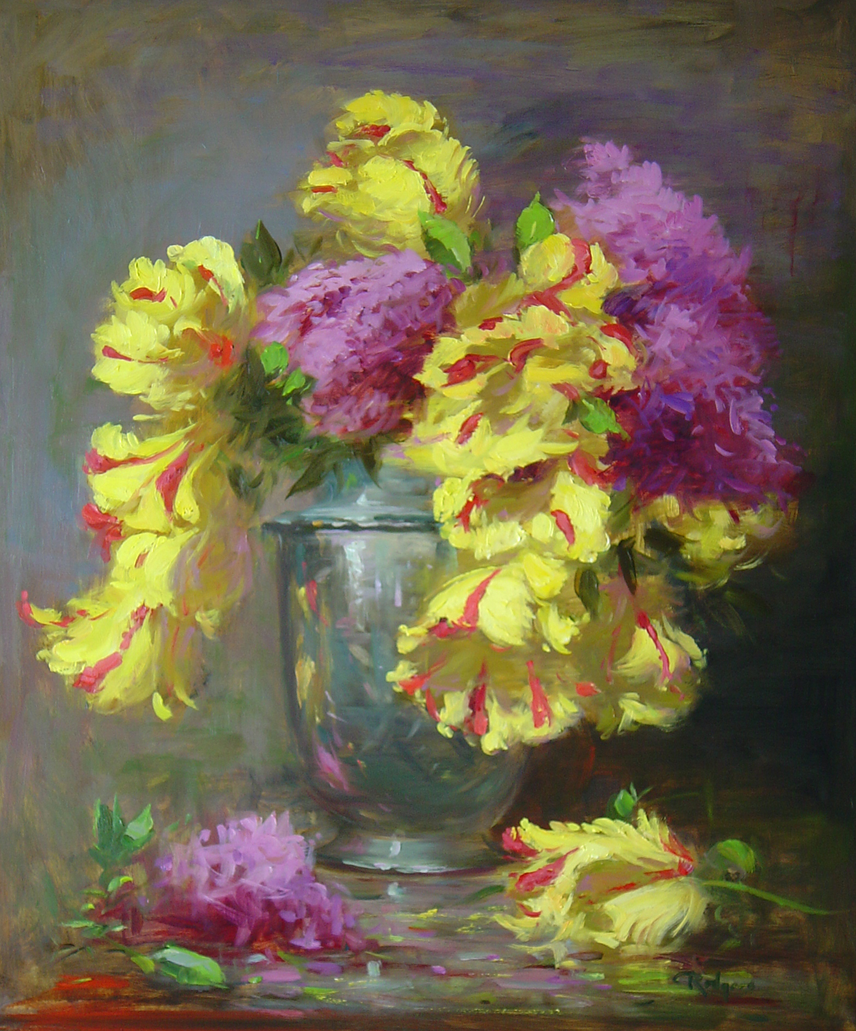 PARROT TULIPS & LILACS by Jim Rodgers - 24 x 20 in., o/b • $4,700