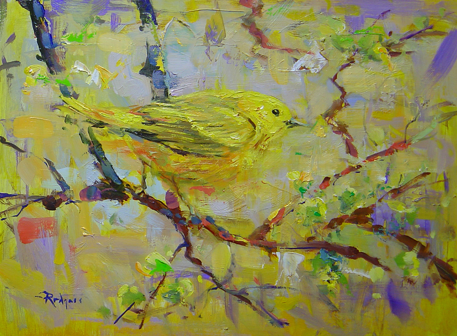 WARBLER IN SPRING by Jim Rodgers- 12 x 16 in., o/b •$2,500