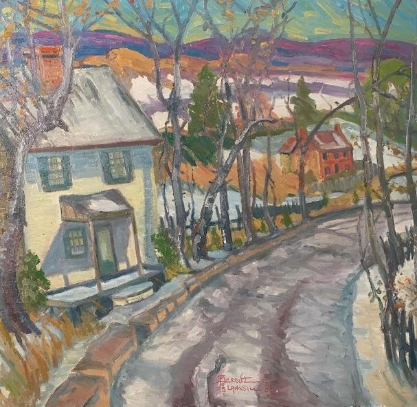 OLD ROAD TO DUBLIN by Joseph Barrett - 30 x 32 in., o/c in artist-designed frame • $9,700