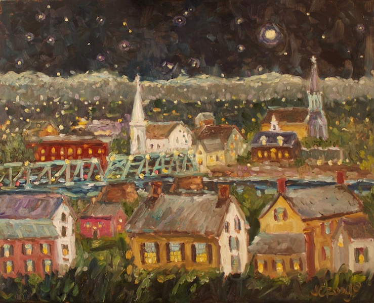 NEW HOPE -LAMBERTVILLE NIGHT by Jean Childs Buzgo - 16 x 20 in., o/b • SOLD