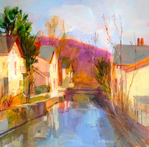 OLD CANAL: NOVEMBER, LAMBERTVILLE by Joseph Barrett - 20 x 20 in., o/c • SOLD