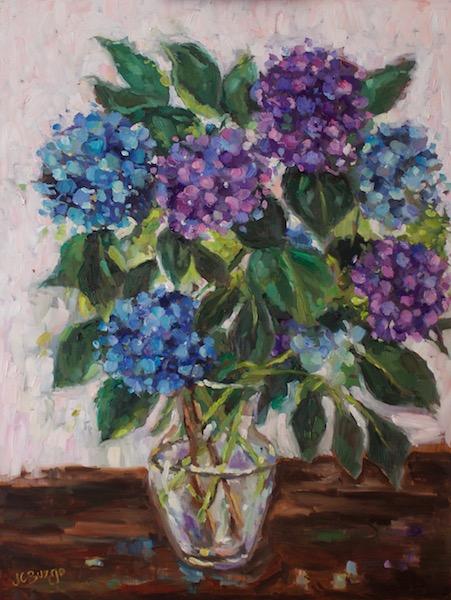 BLUE & PURPLE HYDRANGEAS by Jean Childs Buzgo - 20 x 16 in., o/b • $2,000