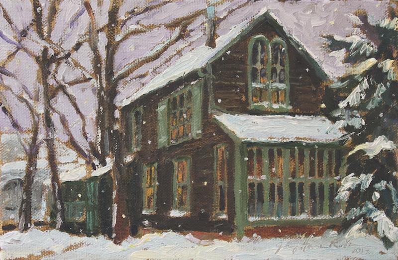 BOATHOUSE EVENING SNOWFALL by Jennifer Hansen Rolli • SOLD