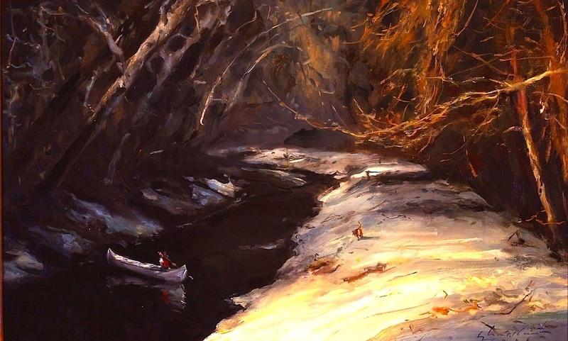 CANAL IN MOONLIGHT by Glenn Harrington - 11 x 16 in., o/l • SOLD