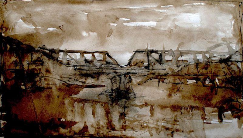 BRIDGE STUDY in walnut Ink on paper by David Stier - 5.75 x 9.75 in. • $850 (matted/unframed)