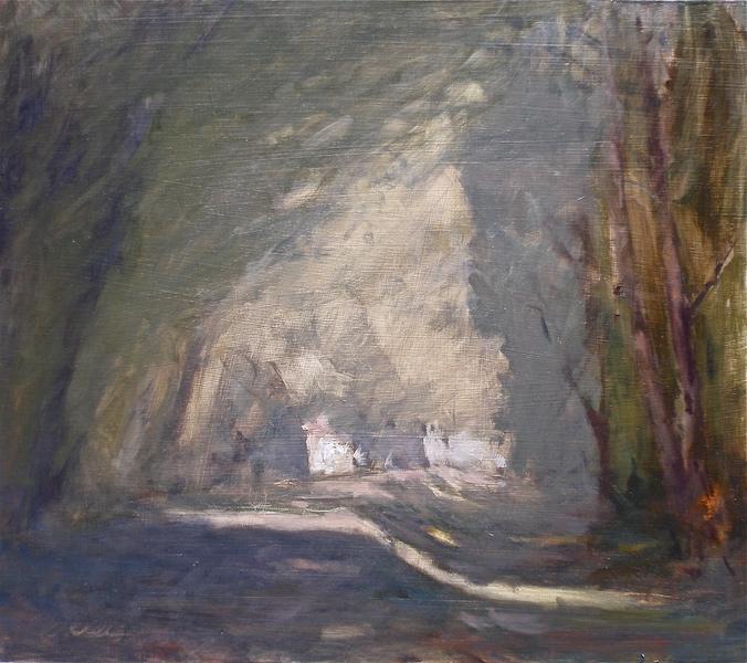 CANAL PATH II by David Stier - 13.5 x 15, ob • SOLD