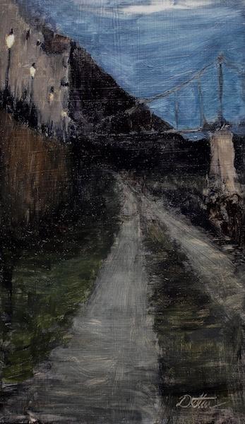 FOOTBRIDGE AT NIGHT by David Stier - 17.25 x 10, o/b • SOLD