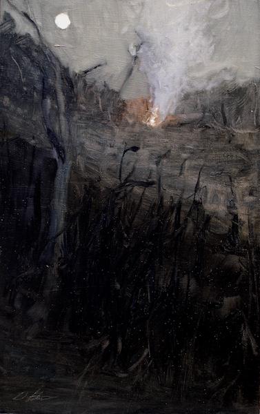 FIRE & MOON by David Stier - 19.5 x 12.25 in., o/b • $3,200