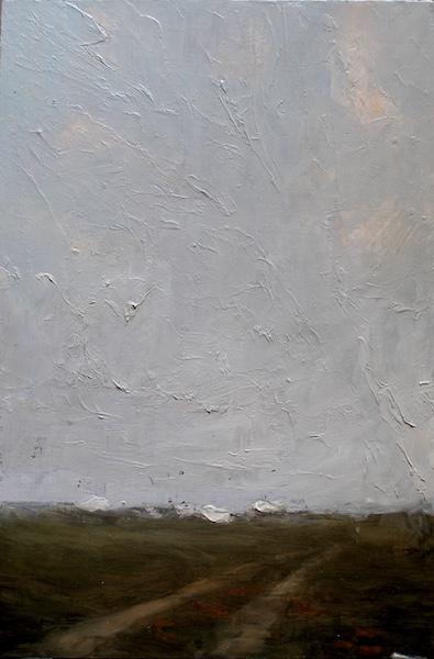 DISTANT VILLAGE by David Stier - 15.5 x 10.5, o/b • $2,400