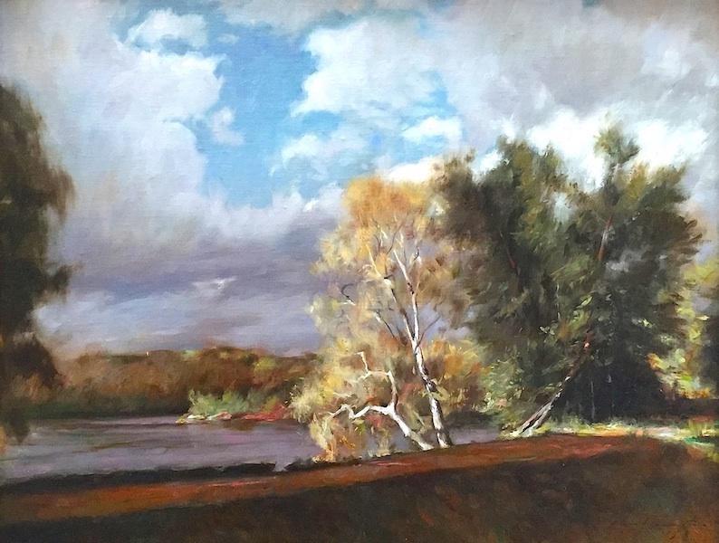 SUMMER SYCAMORES by Glenn Harrington - 20 x 24 in., o/l • SOLD