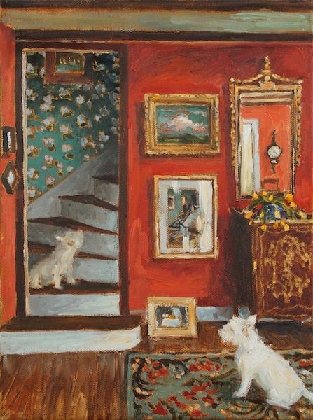 BACK STAIRS II by Jennifer Hansen Rolli - 12 x 9 in., o/c • SOLD