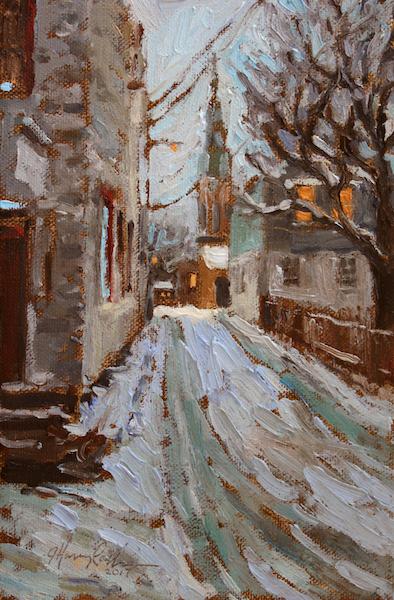 GEORGE STREET EVENING by Jennifer Hansen Rolli - 9 x 6 in., o/c • SOLD