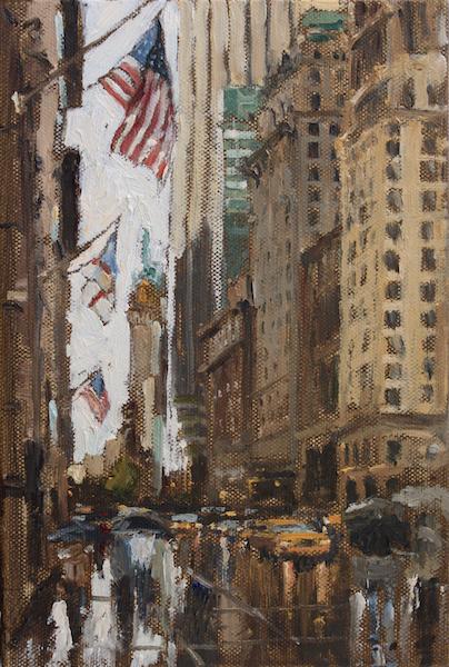 THURSDAY RAIN by Jennifer Hansen Rolli - 9 x 6 in., in Madary frame, o/c • SOLD