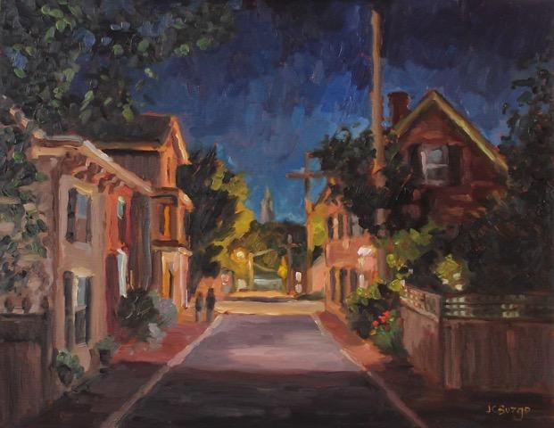 GEORGE STREET NIGHTFALL I by Jean Childs Buzgo - 11 x 14 in., o/b • SOLD