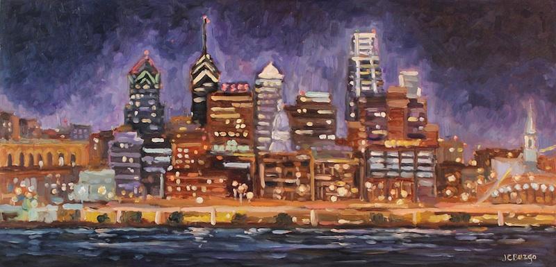 CITY SKYLINE by Jean Childs Buzgo - 12 x 24 in., o/b • $1,800
