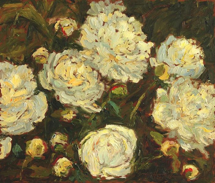 WHITE PEONIES by Jennifer Hansen Rolli - 12 x 14 in., o/b • SOLD