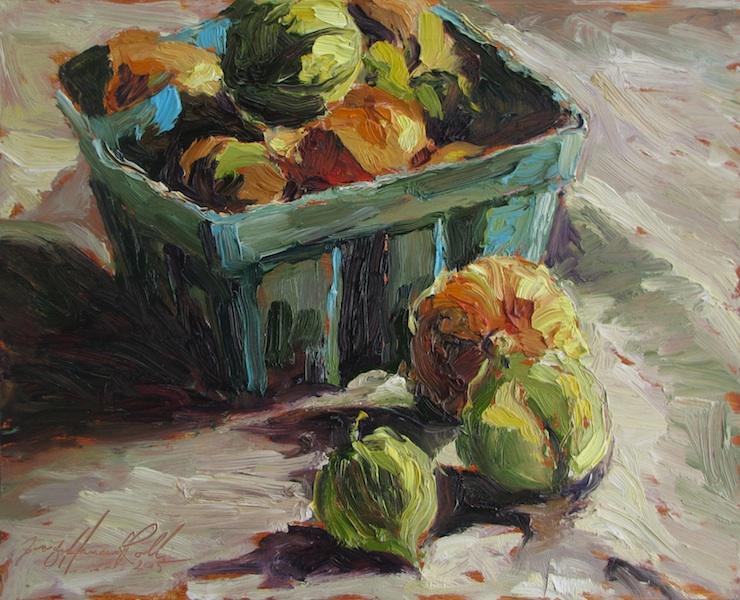 TOMATILLOS by Jennifer Hansen Rolli - 8 x 10 in., o/b • $1,800