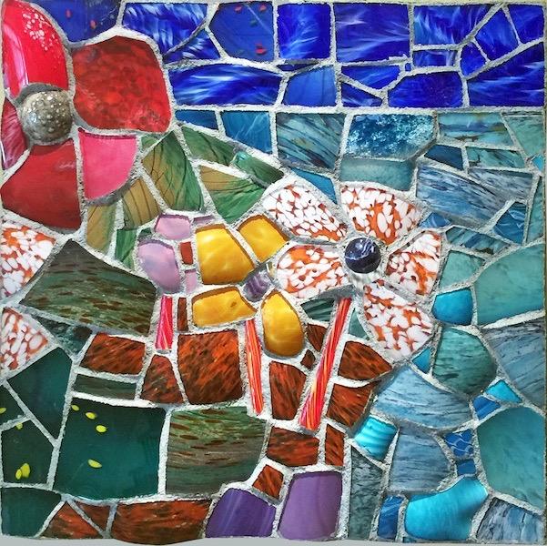 NATURE STUDY IX by Jonathan Mandell - 24 x 24 x 2.5 wall mosaic • SOLD
