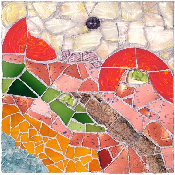 DUTCH LANDSCAPE by Jonathan Mandell - 24 x 24 x 4 in., wall mosaic • $3,500