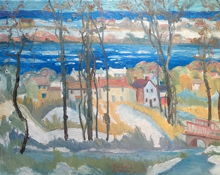 OLD RIVER VILLAGE ON THE DELAWARE by Joseph Barrett - 32 x 40 in., o.c • $12,000