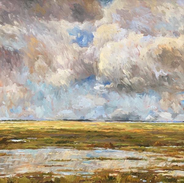 STORMY MARSH by Jennifer Hansen Rolli - 36 x 36 in., o/c • $6,500