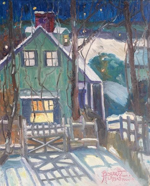 LITTLE HOUSE, LAHASKA by Joseph Barrett - 22 x 18 in., o/c • SOLD