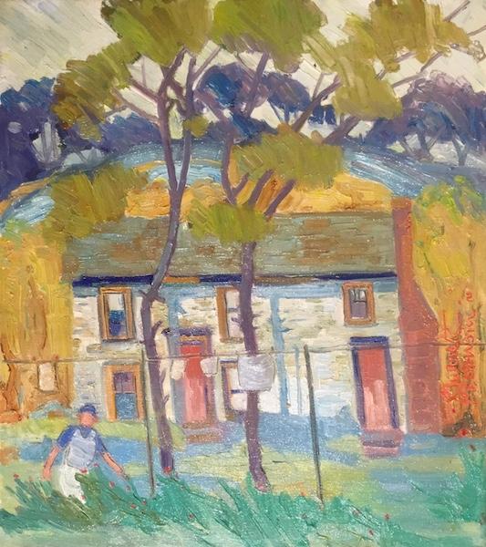 HOUSE WITH TWO DOORS, WIDOW'S HOUSE by Joseph Barrett - 18 x 16, o/c •