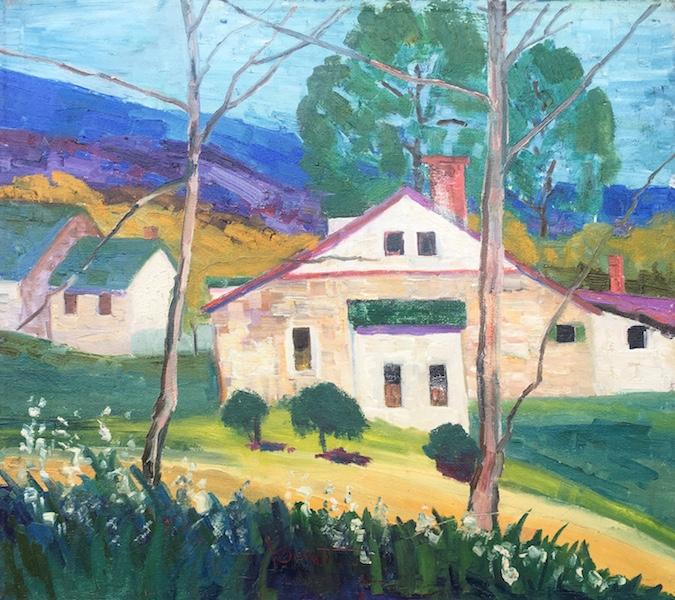 STONE HOUSE by Joseph Barrett - 16 x 18 in., o/c • $5,250