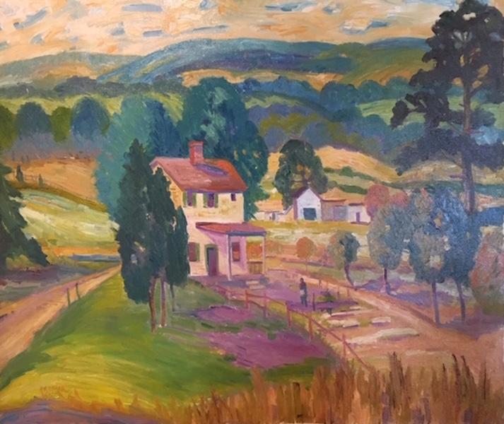 BUCKS COUNTY FARM HOUSE by Joseph Barrett - 26 x 30 in., o/c • $9,800