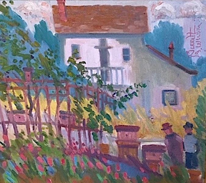 SPRING, LADYS GARDEN (BEE KEEPERS_LAMBERTVILLE) by Joseph Barrett - 16 x 18 in., o/c • $5,250