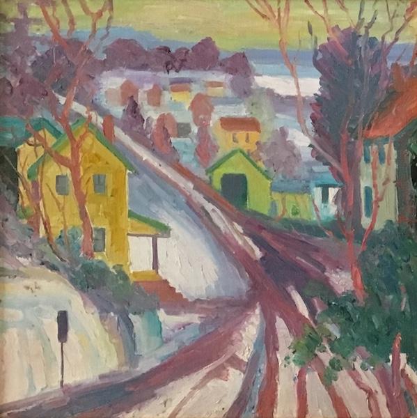 WINTER ROAD_ by Joseph Barrett, 14 in. sq., o/c • SOLD