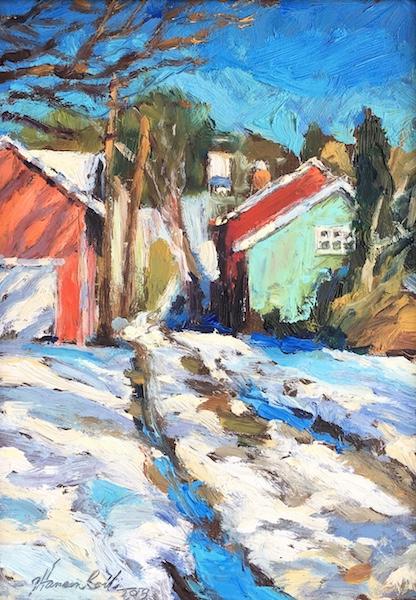 FRENCHTOWN SNOWY LANE by Jennifer Hansen Rolli - 7 x 5 in., o/b • SOLD