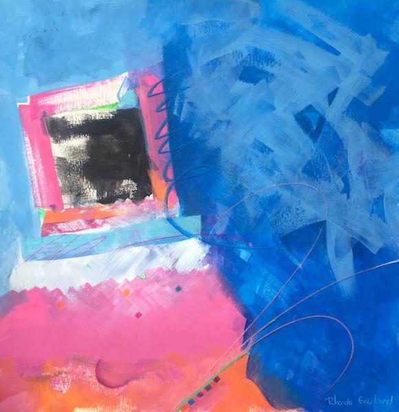LIGHTEN UP by Rhonda Garland - 15 x 15 in., acrylic & ink on paper • $1,875